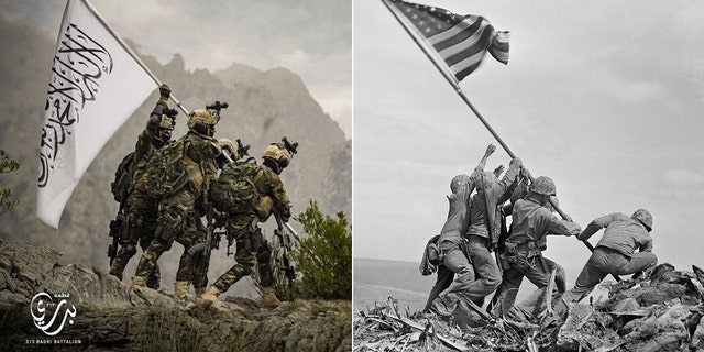 Elite Taliban unit wearing US gear appears to mock iconic American WWII photo