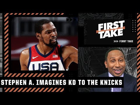 Stephen A. gets hyped about the idea of KD landing with the Knicks | First Take