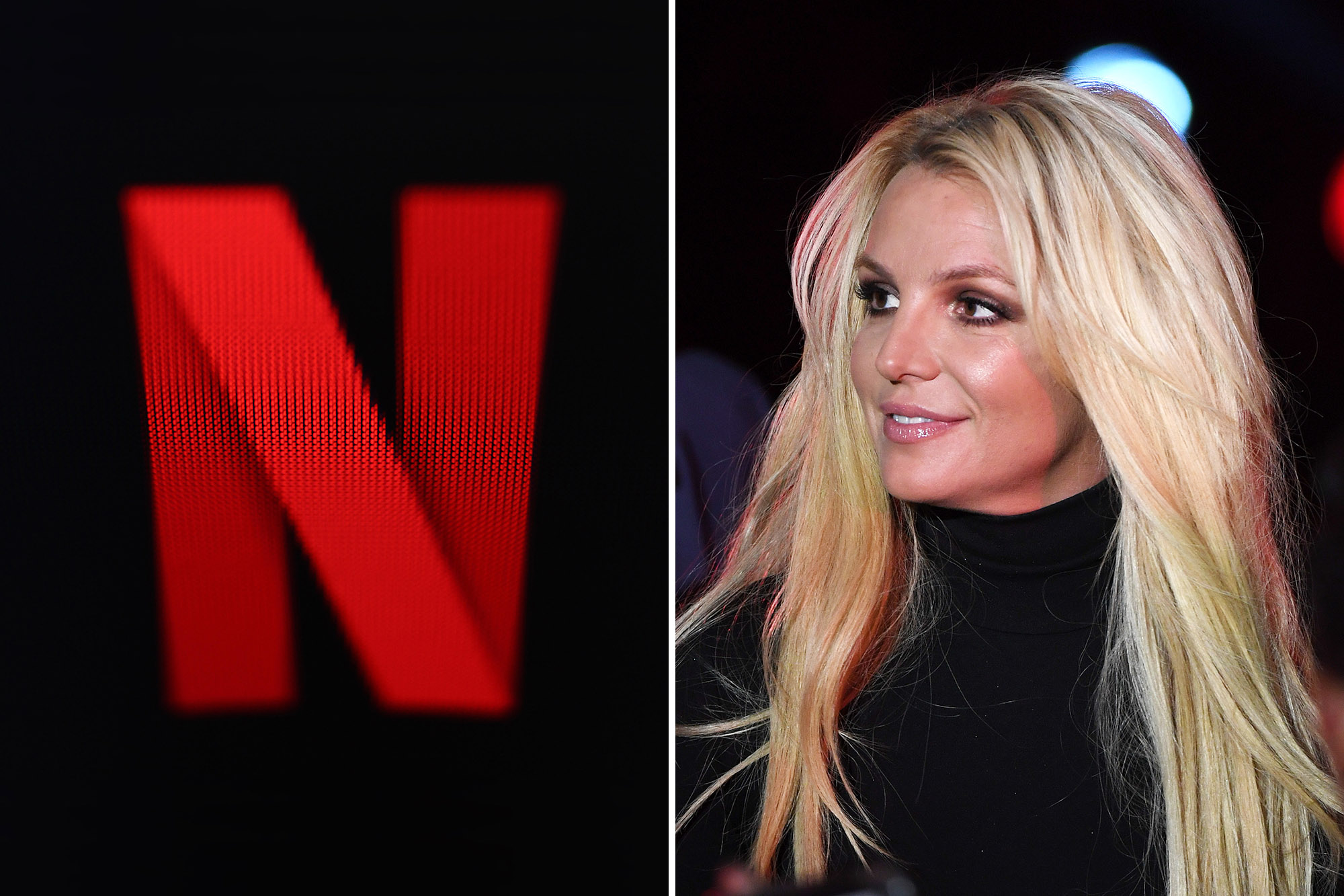 """Britney Spears smiling, right. The Netflix """"N"""" symbol, left."""