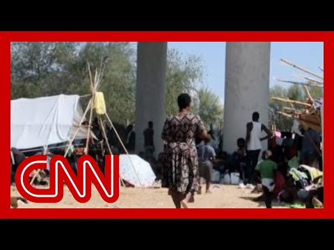 Video from border shows agents pushing people back on horseback. CNN speaks to migrants there