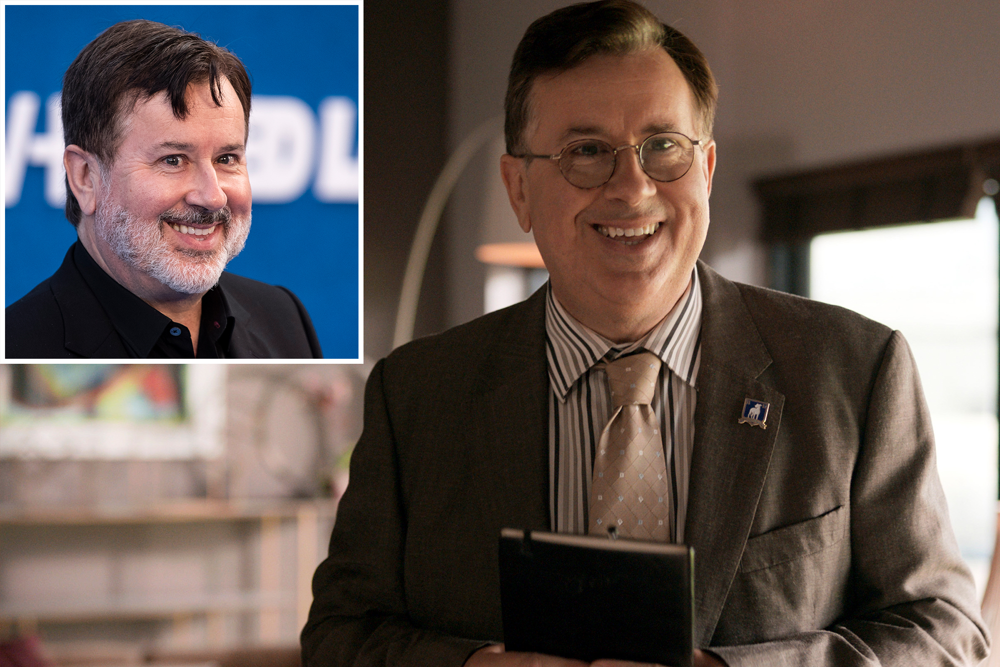 """Photo showing Jeremy Swift as he appears offscreen, with a beard, and as the clean-shaving Leslie Higgins in """"Ted Lasso,"""" where he's smiling and holding a datebook."""