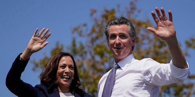Kamala Harris faces protesters waving Afghanistan flag during Newsom rally in California