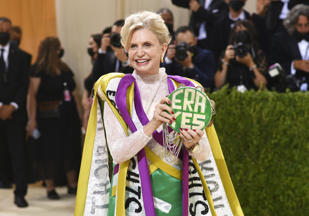 NY Rep. Carolyn Maloney shows up at 2021 Met Gala wearing a gown in suffragist colors