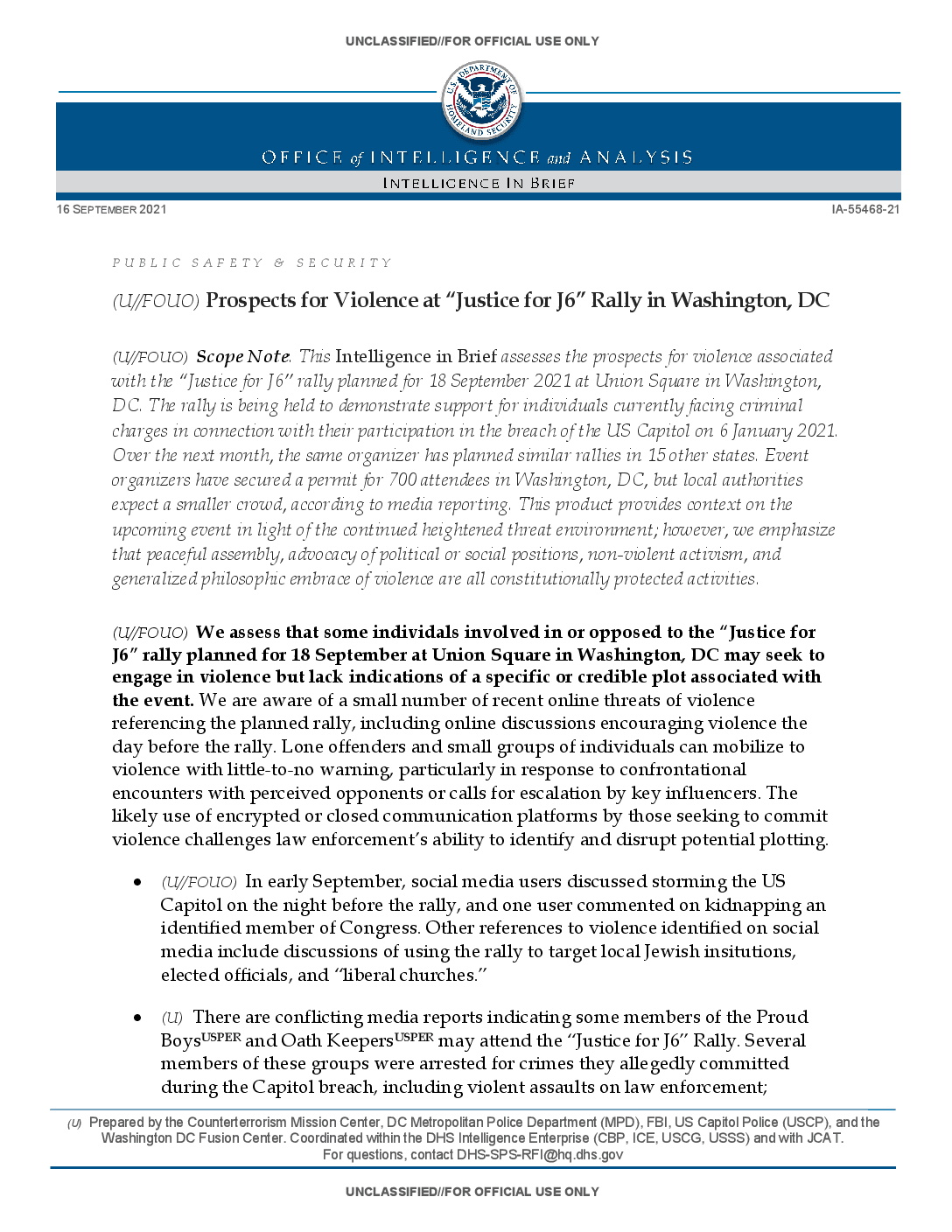 Security Memo on the Sept. 18 Rally