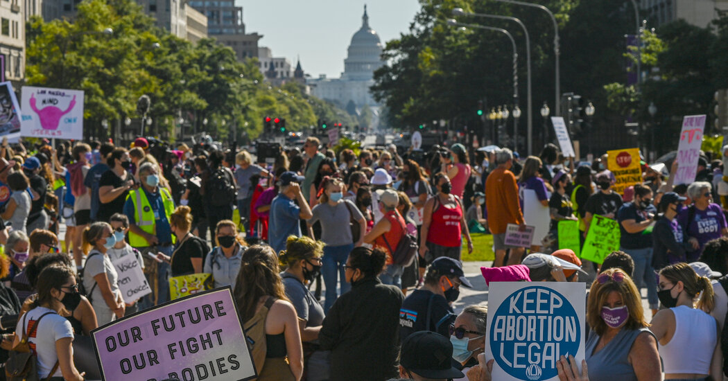 Demonstrators March for Abortion Rights