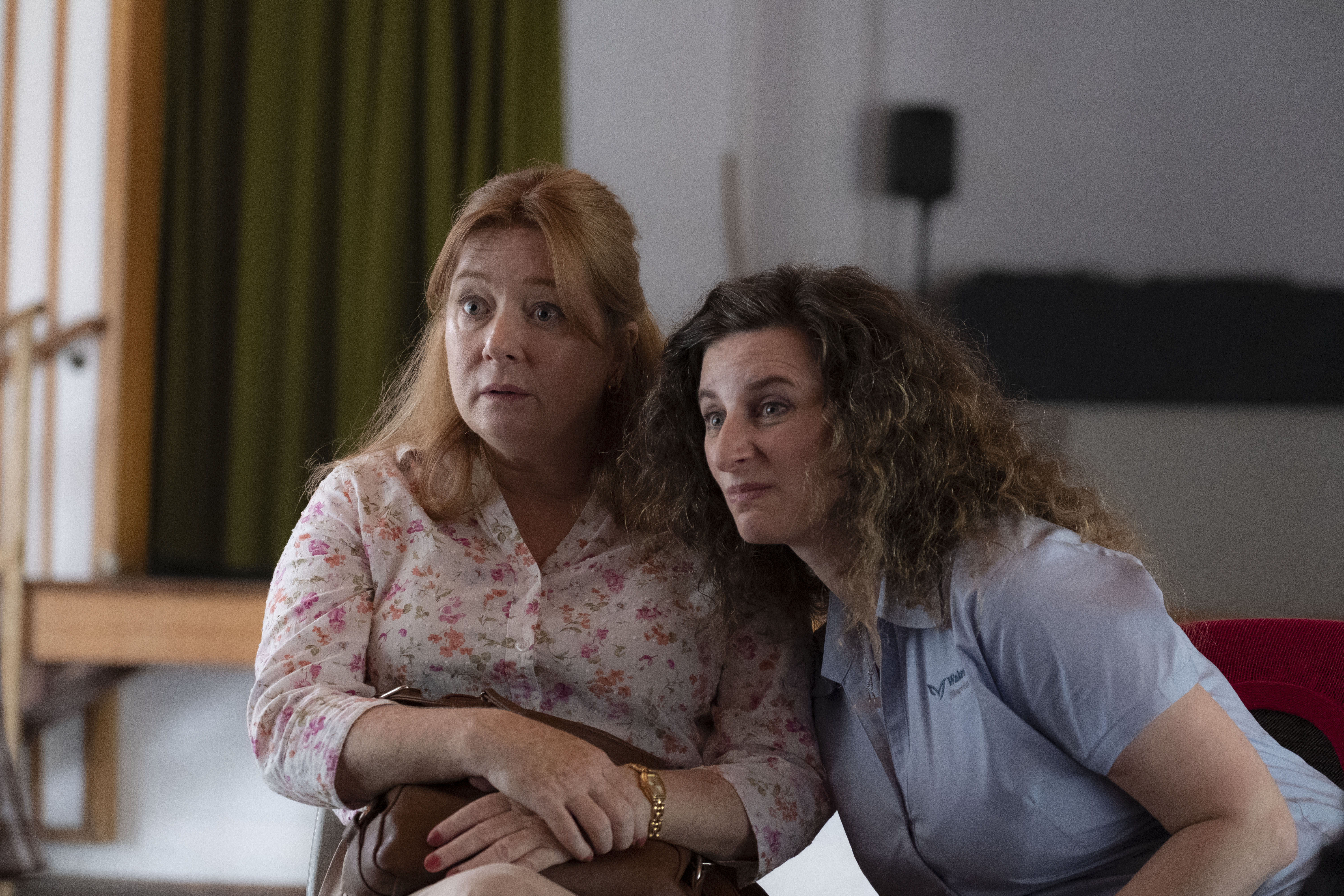 """Photo showing Mandy MacElhinney and Felicity Ward as Linda and Collette in a scene from """"Wakefield."""""""