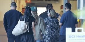 Hillary Clinton arrives at UC Irvine Medical Center as Bill Clinton recovers from infection